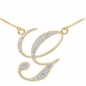 diamond script letter g pendant necklace in 9ct gold With letter g diamond pendant