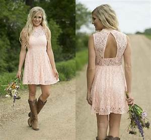 2016 high neck pink lace short bridesmaid dresses cheap With country wedding dresses for guests