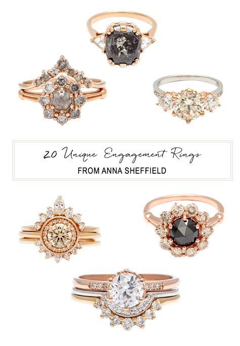 20 unique engagement rings from anna sheffield green