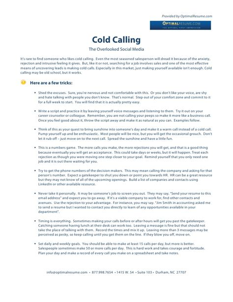 Cold Calling Resume Exles by Cold Calling In The Search