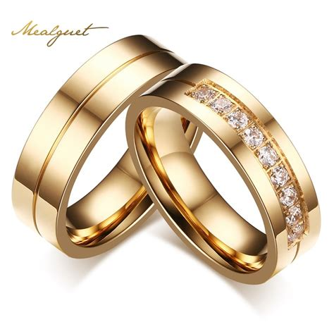 meaeguet gold plated cz wedding rings for women man cubic zirconia ring stainless steel