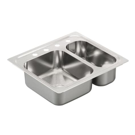 hole in sink basin shop moen 2000 series 22 in x 25 in double basin stainless