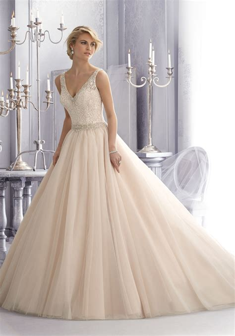 Crystal Beading On Lace And Tulle Wedding Dress Style