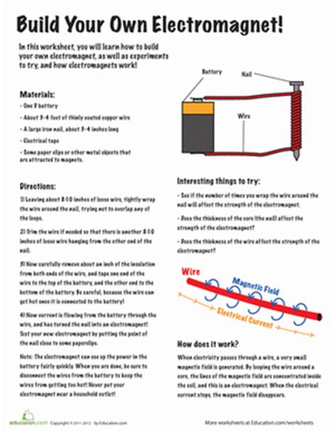 build your own electromagnet worksheet education