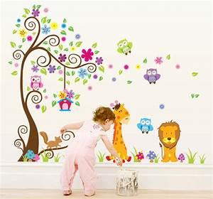 sticker geant arbre fleurs girafe et lion stickers With chambre bébé design avec envoyer des fleurs en espagne