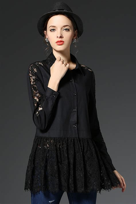 neck lace sleeve pullover womens black blouse with collar clothing