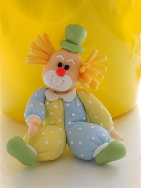 clown payaso porcelana fria polymer clay fimo modelado figurine topper pasta francesa masa