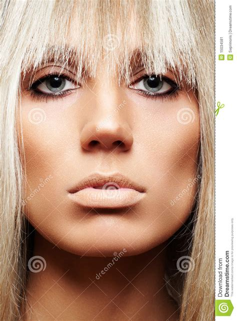 close   beauty  strict hairstyle   stock