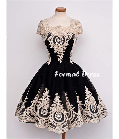 Formal Dress Retro Black Tulle Lace Short Prom Dresses
