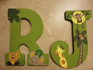 wooden letters nojo jungle babies large by wallapproved on With giant letters for baby shower