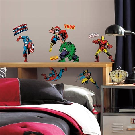 marvel bedroom decor 32 new classic marvel heroes wall decals stickers boys bedroom decor ebay