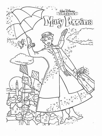 Poppins Mary Coloring Pages Outdoor Activity Disney