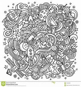 Cartoon Hand-drawn Doodles Space Illustration Stock Vector ...