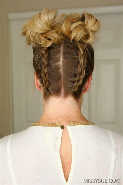 braids and buns hairstyles double dutch braids high buns missy sue