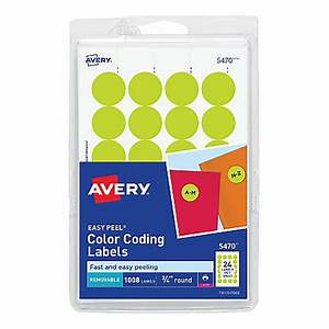avery removable round color coding labels 5470 34 diameter With avery 3 circle labels