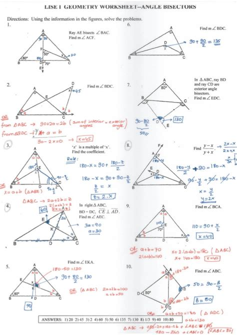 geometry angle bisectors worksheet with answers