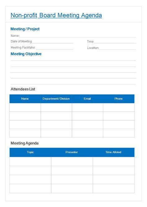 profit board meeting agenda template templates