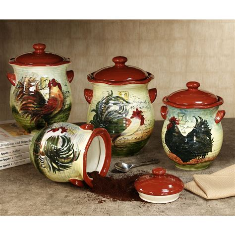 rooster kitchen canister sets le rooster canister set from touch of class kitchen