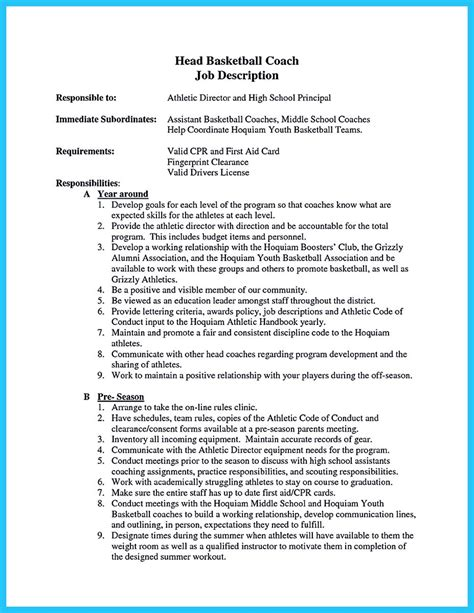 Basketball Coach Resume Sle by Captivating Thing For And Acceptable Basketball