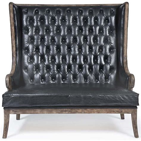 settee wood vince modern classic high back tufted black leather wood