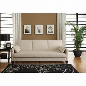 sofa sleeper with 2 pillows in tan linen 2012327 With stratford home pillows living room furniture