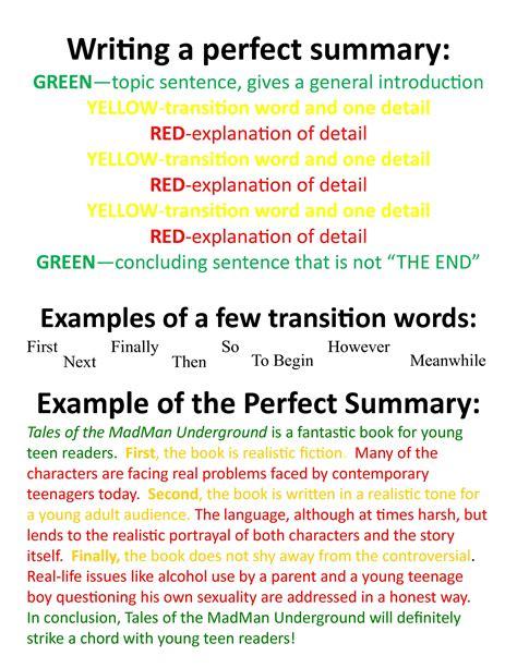 writing a perfect summary nkc bookspace