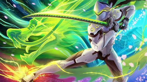 wallpaper overwatch genji fan art hd games