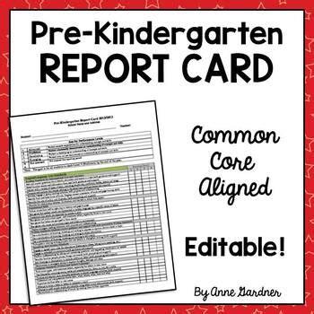 pre kindergarten report card aligned  common core