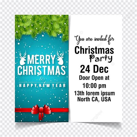 Christmas Invitation Card With Blue And White Background