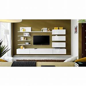 Décoration Télévision Murale : ensemble meuble tv mural italia de haute brillance ~ Teatrodelosmanantiales.com Idées de Décoration