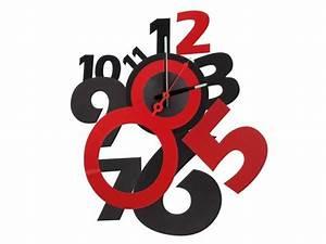 Horloge Murale Rouge : horloge murale rouge et noir horloge autocollante ~ Teatrodelosmanantiales.com Idées de Décoration