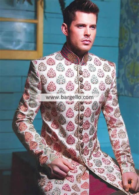 Gorgeous Raw Silk Sherwani Suits Oslo Norway Groom Wedding ...
