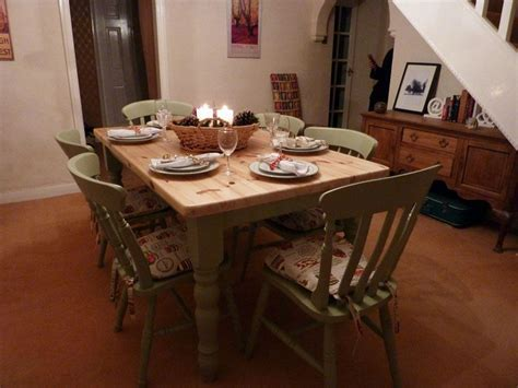 Pine Farmhouse Kitchen Table With 6 Chairs Painted Vintage