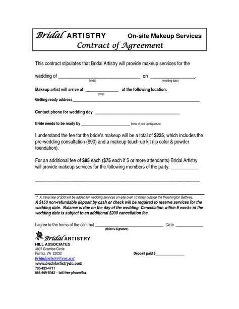 artist contract template best photos of makeup artist bridal contract printable bridal makeup contract template makeup