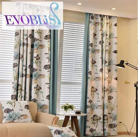 2016 new modern fish curtains for living room blackout
