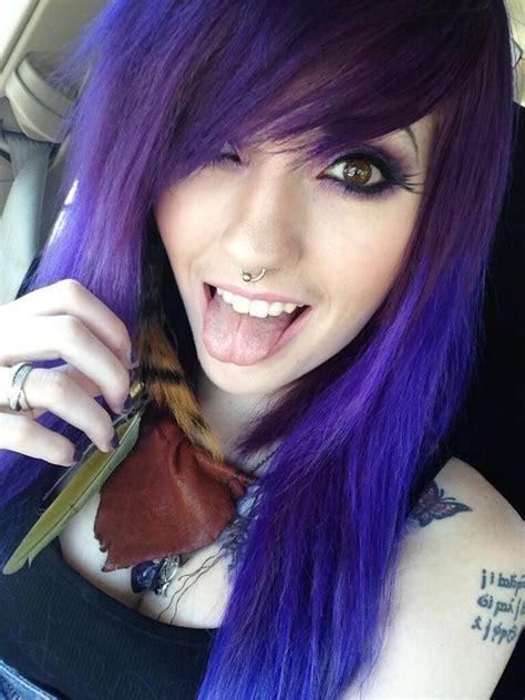 Leda Muir Purple Mixed Hair Septum Ring Scene Hair