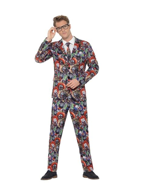 adult evil clown stand  suit  fancy dress ball