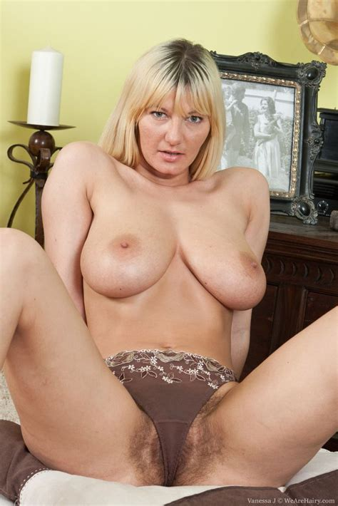 Breasty Blonde Milf With Pubes Sticking Out Of Underwear