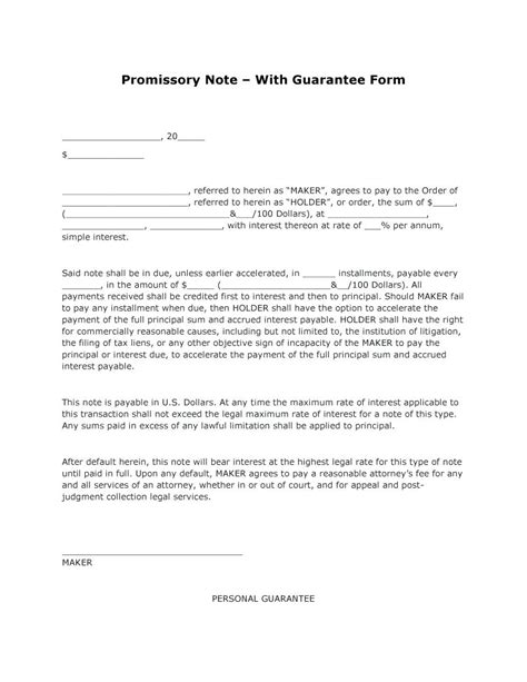 Template Personal Guarantee Agreement Template Template Personal Guarantee Form Template