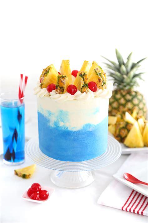 blue hawaiian layer cake sprinkle bakes