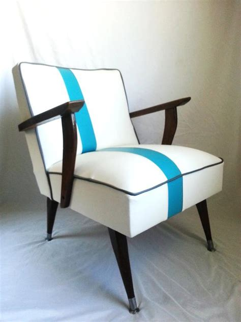 mid century modern chair white vinyl  blue  center