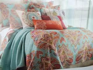 storehouse paisley moroccan aqua red blue orange king quilt shams set 3 new ebay