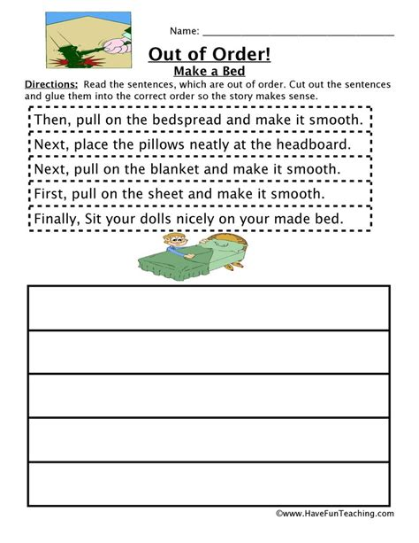 Sequencing Worksheet  Making A Bed  Have Fun Teaching