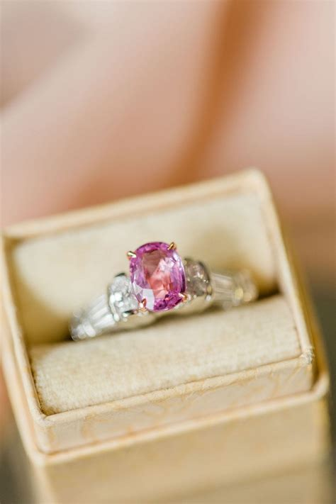 pink sapphire engagement ring estate vintage jewelry