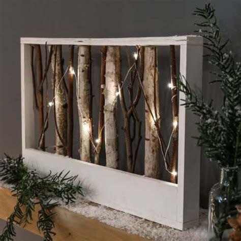 wooden battery light  nordic rectangle frame  twigs