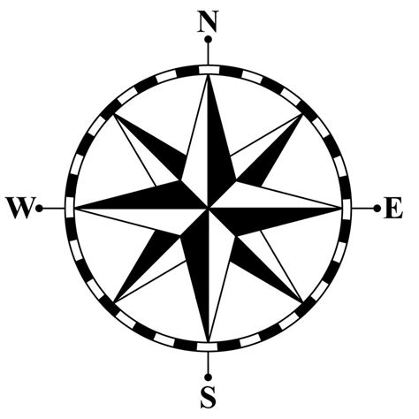 compass black and white compass clipart best