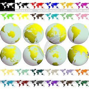 Globen Und Karten : erde globen und farbige welt karten vektorisierte abbildung ~ Sanjose-hotels-ca.com Haus und Dekorationen