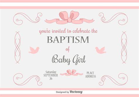 baby girl baptism vector invitation   vector