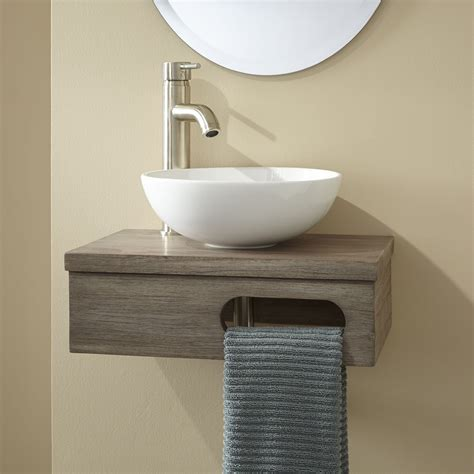 wall mounted vanities for small bathrooms 18 quot dell teak wall mount vessel vanity with towel bar