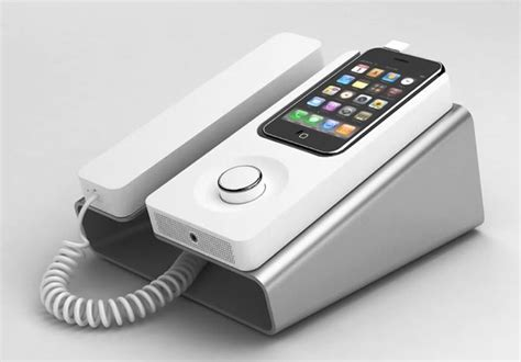 iphone phone desk phone dock turns iphone into wired telephone gadgetsin